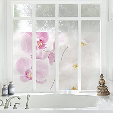 Mural para ventana Delicate Orchidd, adhesivo para ventana, lámina para ventana, adhesivo de ventana, tatuaje para ventana, adhesivo para cristal, cuadro ventana, decoración para ventana, mural para ventana, Tamaño: 108cm x 162cm