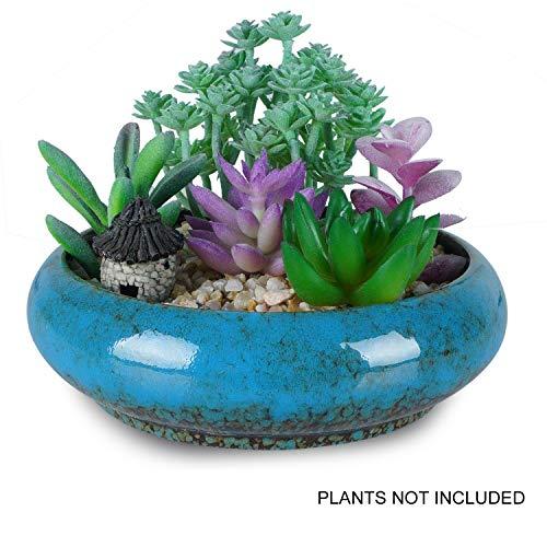 18,5cm Vintage rund Keramik Übertopf Töpfe, blau glasiert Sukkulente Halter Bonsai Blume Vase Garten Deko Kaktus Pflanzen Ständer Künstliche formschnittbäume Getopfte Container