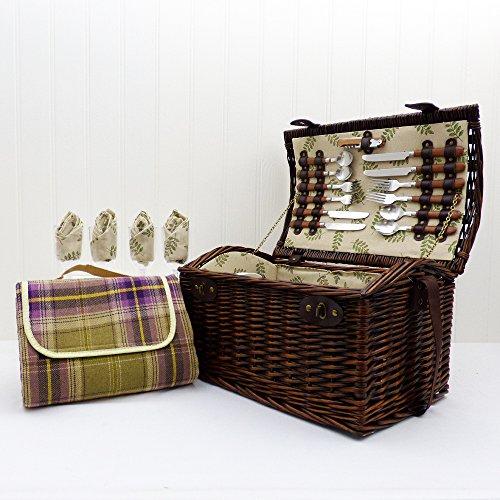 Osier traditionnel panier pique-nique pour 4 personnes avec une couverture de pique-nique - Un panier-cadeau idéal pour Noël, anniversaire, mariage