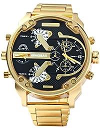 NICERIO Relojes de Pulsera Cuarzo Analógico Dual Time Acero Inoxidable Reloj para Hombre