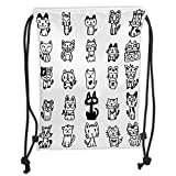 Fevthmii Drawstring Backpacks Bags,Cat,Hand Drawn Sketchy Cats with Happy Face Gestures Comic Creatures Funny Art Print Image,Black White Soft Satin,5 Liter Capacity,Adjustable String Closu