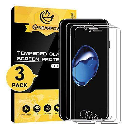 [3 pack] iphone 7/ iphone 8 pellicola protettiva, nearpow pellicola protettiva in vetro temperato per iphone 7/ iphone 8 [2.5d bordi arrotondati][3d toccare compatibile][elevata durezza][garanzia a vi