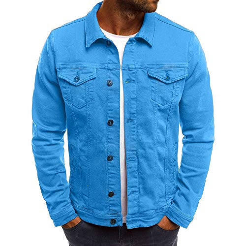 KPILP Herrenmode Herbst Winter Taste Einfarbig Vintage Jeansjacke Tops Bluse Mantel Outwear Langarm-Shirt(Blau, XL)