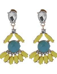 Shining Diva Yellow Blue Gold-Alloy Stone Material Earrings For Women