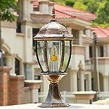 Hines Fari a colonna per esterni Colonnine per pilastri a sospensione a tenuta d'acqua Lampada da tavolo a lanterna in vetro serie europea Lampada da tavolo in alluminio E27
