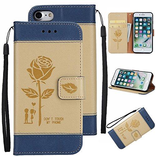 EKINHUI Case Cover Gemischte Farben Rose Blume matt Premium PU Leder Brieftasche Stand Case Cover mit Lanyard & Card Slots für iPhone 7 ( Color : Pink ) Gold