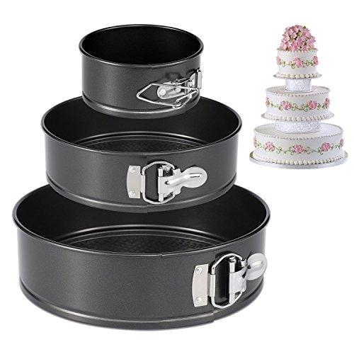 CESHUMD Springform Pan Set von 3 Antihaft-Cheesecake Pan, auslaufsicher Round Cake Pan Set enthält 3 Stück 4