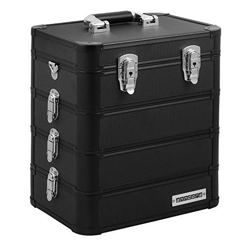 Preisvergleich Produktbild anndora Universalkoffer Etagenkoffer 23 Liter Werkzeugkiste 4 Ebenen - Schwarz