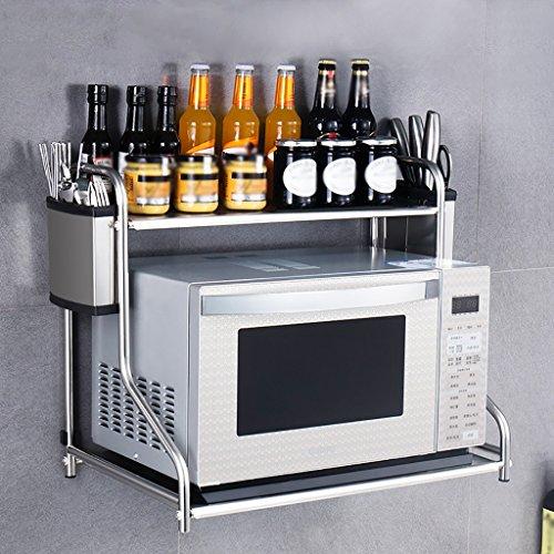 Scaffali da cucina scaffale in acciaio inox attaccatura a muro da cucina forno a microonde cremagliera condimento a parete conservazione stoviglie pali per forno porta spezie per cucina
