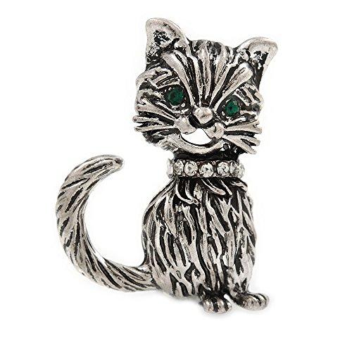 Avalaya - Pequeño Broche de Gato de Inspiración Vintage en Metal Plateado Envejecido – 32 mm de Alto
