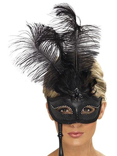e Augenmaske mit Federn und Handgriff, One Size, Schwarz, 21719 (Feder Kostüme Augenmaske)