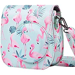 SAIKA Caméra Housse Compatible Fujifilm Instax Mini 8/8+/Mini 9 Appareil Photo Instantané - Sac de Caméra en Cuir Voyage Caméra Case Sac avec bandoulière amovible - Flamingos