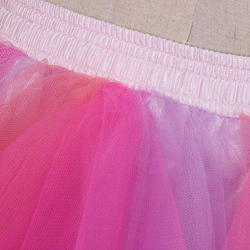 VKStar® Retro Damen Kurz Rock Ballett Einheitsgröße Vintage petticoat 50er Unterrock Reifrock Mehrfarbige Unterröcke Mischfarbig J