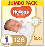 HUGGIES New Born Diapers, Size 1,Value Pack, upto 5 kg, 128 Diapers