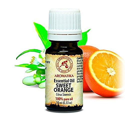 Orangen Öl Süß 100 % Naturreines Ätherisches 10 ml, Reine & Natürliche Orangenöl Süß - Brasilien -für guten Schlaf / Beauty/ Baden / Körperpflege / Wellness / Schönheit / Aromatherapie / Entspannung / Massage / SPA / Aroma diffuser / Duftlampe / Raumbeduftung / Kosmetik / Raumduft / Aroma / Glasflasche, von AROMATIKA