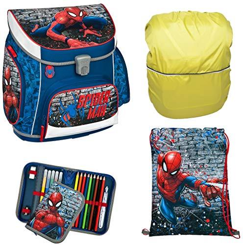 Spiderman SCOOLI Schulranzen für Grundschule Jungen Schulrucksack   anatomisch   Schultasche Set 4 teilig   inkl. Federmäppchen, Sportbeutel, Regenschutz von SCOOLSTAR