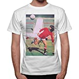 thedifferent T-Shirt Uomo George Best Firma Tacco Pallone Top Player - Bianco