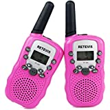 Retevis RT-388 Kids Walkie Talkie PMR446MHz 8 Channels License Free 2 Way Radio(Pink, 1 Pair)