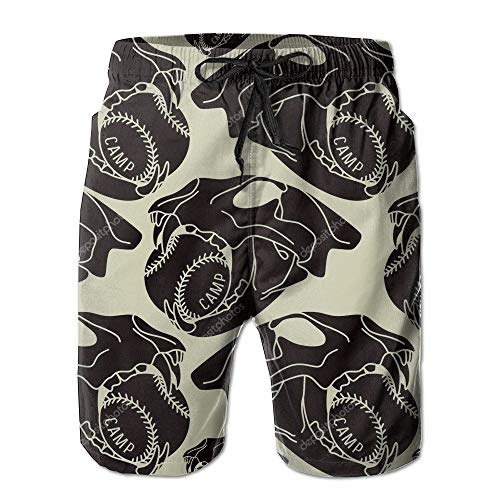 Fashion New Quick Dry Swimming Beach Shorts Man Skull Animal with Baseball Seamless Pattern Humor Quick Dry Swim Trunks Fashion Beach Shorts,XL Under Armour-skull Wrap