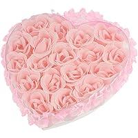 SODIAL(R) Rosa-chiaro sapone petalo del fiore 18 in 1 Cuore Regalo vasca da bagno