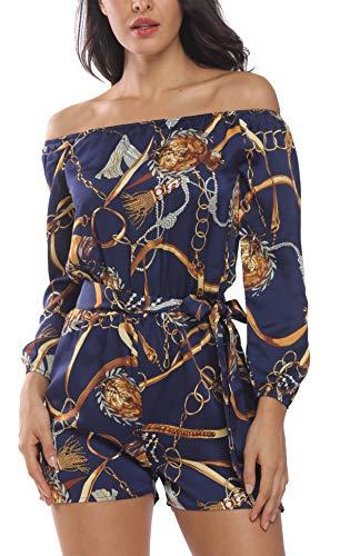 MISS MOLY Combinaison Femme Combishort Chaîne d'impression Sexy Manches 3/4 Combinaison de Travail Courte Elégant avec Ceinture à Nouer Bleu X-Larg