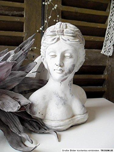 Büste Frauenbüste Skulptur Damenbüste Figur Dekoration Landhaus Shabby Chic (Wolf Büste)