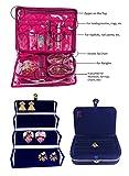 Atorakushon Combo 2 Bangle Chain Necklace Jewelry pouch with Ring Earring box satin Wardrobe Organiser/Regular Makeup storage jewellery Vanity Box Travel Makeup Storage Organizer