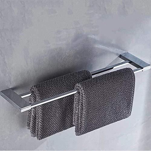 Yutu PS00 Moderner rechteckiger Badezimmer-Zubehör, Wandmontage, poliertes Chrom (Kleiderhaken/Handtuchring/Handtuchhalter/Toilettenpapierhalter/Zahnbürstenhalter), Messing, silber, Double Towel Bar -