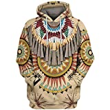 Xmiral Hoodie Felpa Sweatshirt Hoodie Cappuccio Uomo Felpa Blusa con Cappuccio a Maniche Lunghe Stampa Stile Etnico 3D Vintage (7XL,4- Bianca)