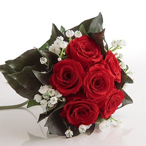 Blumenstrauß mit exklusiven, konservierten langhaltenden Rosen Brautstrauß für Hochzeitstag von ROSEMARIE SCHULZ GmbH Heidelberg (6 Rosen, Rot)