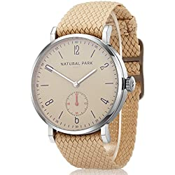 Men and Women Dress Casual Watches with Beige Dial and Nylon Watch Bands