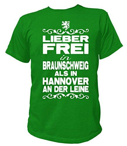Artdiktat Herren T-Shirt - Lieber Frei in Braunschweig Als in Hannover An der Leine - Funshirt Humor Fun Spaß Kult Funny Spruch Größe M, Grün