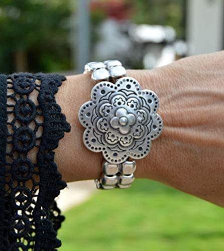 Bracciale in pelle e zama d'argento in stile vichingo o celtico, gioielli moderni e casual