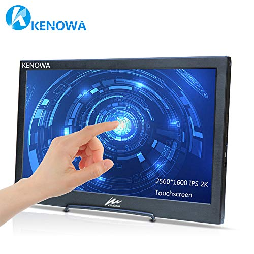 10 Zoll IPS Touch Bildschirm Tragbarer Monitor, Kenowa Full HD 2560 * 1600 LED Screen Monitor 2k Gaming Kompatibel mit Raspberry pi 3 b+, Touch Monitor mac, PS3, PS4, Windows 7 8 10 Wii U.