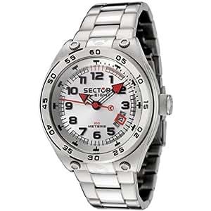 Sector - R3253177015 - Sk-Eight - Montre Homme - Quartz Analogique - Cadran Blanc - Bracelet en Acier
