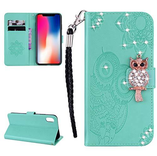 für iPhone XS/X (5.8 Zoll) Hülle, Glitter Strass Bling Eule Ledertasche Muster Weich PU Schutzhülle für iPhone XS/X (5.8 Zoll) (D) (5) - Telefon-kästen Aus Bling