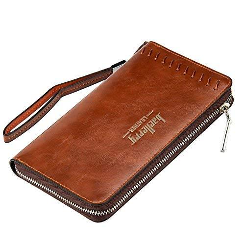 en Herren-Geldbörsen Men Wallet Vintage-Stil mit Hand Strap 12 Card Slots 2 Cash Slots 1 Smartphone Tasche mit Reißverschluss ()