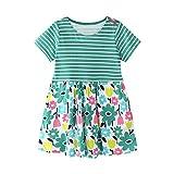 JERFER Mädchen Liebe Punkt Streifen T-Shirt Top Bluse Kurzarm-Shirt 1.5-6Jahre (Grün, 18M)