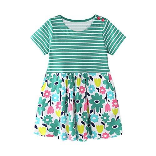 JERFER Mädchen Liebe Punkt Streifen T-Shirt Top Bluse Kurzarm-Shirt 1.5-6Jahre (Grün, 3T) (3t Grün)