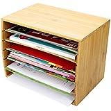 Trieur de documents de bureau en bambou Document A4Organiseur 5compartiments de rangement...