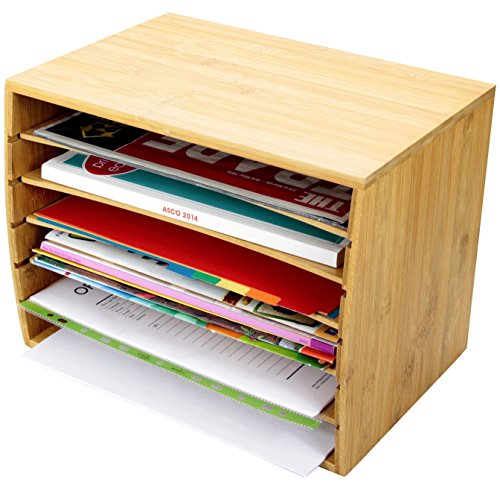Trieur de documents de bureau en bambou Document A4 Organiseur 5 compartiments de rangement