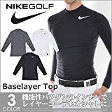 Nike CL Pro Golf Shirt Manches Longues Homme, White/Black, FR : M (Taille Fabricant : M)