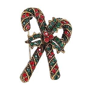 Yazilind Weihnachten Candy Cane Frauen Brosche Mode Persönlichkeit Strass Bedeckt Schals Schal Clip für Damen