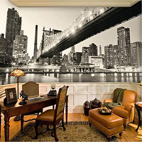 York Schwarz Weiß Blick Auf Die Stadt Brücke Wohnzimmer Arbeitszimmer Home Wanddekoration Vliestapete Tapete Tapetenkleister ()