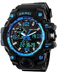 Nuricher Reloj Deportivo de Gran Dial con Luces Resistente contra Choques Pulsera Digital de Multifunción Impermeable de 50M de Dual Tiempo para Deportes Exteriores y Viajes para Hombre (Azul)