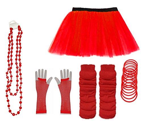 Set Skirt Gloves Leg Warmers Bracelet Beads 80s Costume Size 6-22 (Red, UK 6-14 (EUR 34-42)) (80er Jahre Kostüm Plus Size)