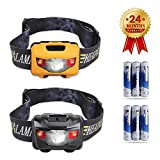 STCT CREE LED Headlamps 2-Packs, Red Lights and High elastic Headband, Suitable for Running, Camping, Backpacking, Jogging, Fishing, Hunting, Climbing, Walking and DIY Work (6 AAA Batteries Included)