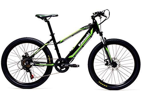 Kawasaki Bicicletta Elettrica con Pedalata Assistita Ammortizzata 24 Kx E Teen - dai 7 ai 13 Anni C.a. - Batteria LG - Telaio Alluminio - Shimano 6 velocità - Autonomia 50 Km - Novita