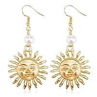 KEERADS Earrings Women Sterling Silver Pearl Sun Flower Smiley Dangle Hoop Earrings Jewelry Gift (Gold)