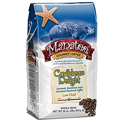 Manatee Caribbean Delight, Whole Bean Coffee, 2 Pound Bag, Rich, Medium Roast Flavored Coffee with Hints of Coconut, Hazelnut, and Caramel, Whole Bean Gourmet Coffee by Manatee
